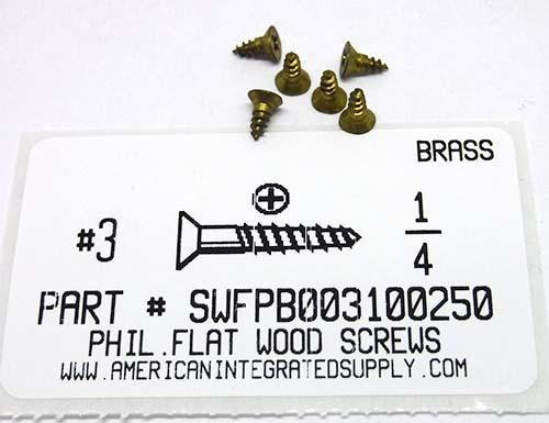 """Brass Slotted Flat Head Wood Screw #5 x 1-1//2/"""" Qty 100"""